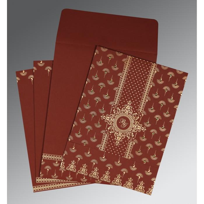 Red Matte Screen Printed Wedding Invitation : CI-8247D - IndianWeddingCards