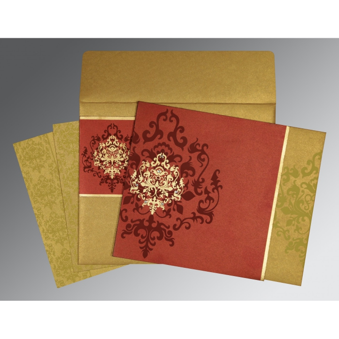 Red Shimmery Damask Themed - Screen Printed Wedding Card : CD-8253B - IndianWeddingCards