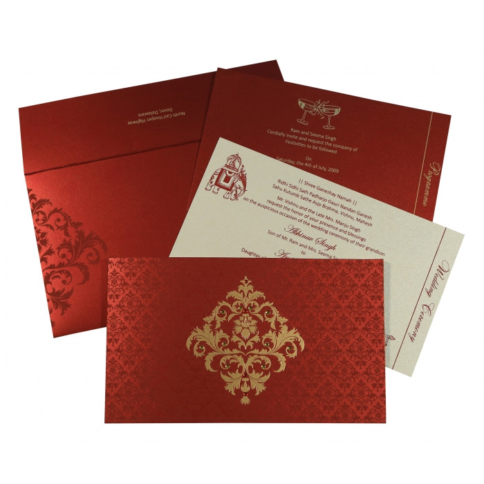 Red Shimmery Damask Themed - Screen Printed Wedding Card : CSO-8257H - IndianWeddingCards