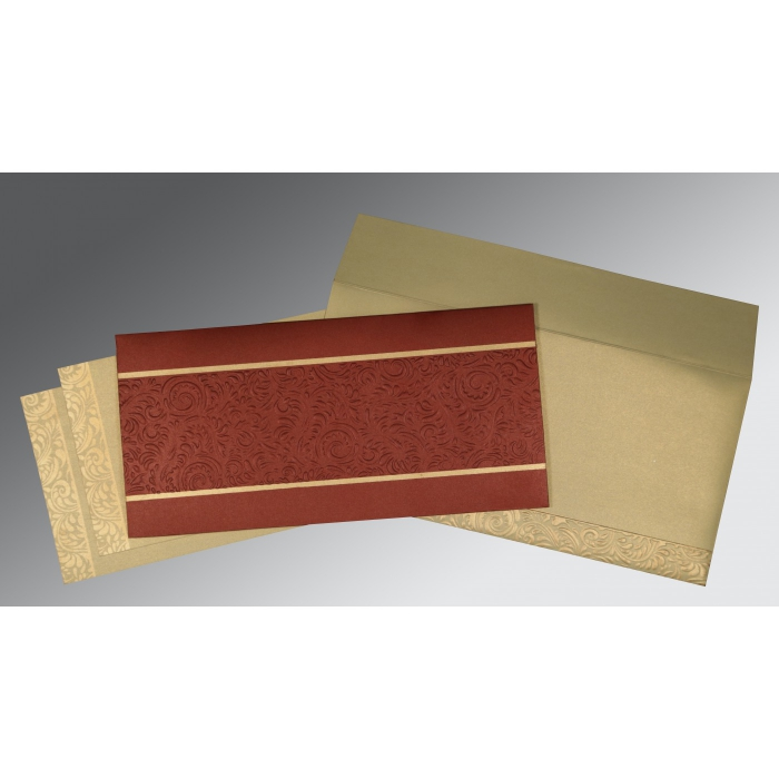 Red Shimmery Embossed Wedding Invitation : CD-1471 - IndianWeddingCards
