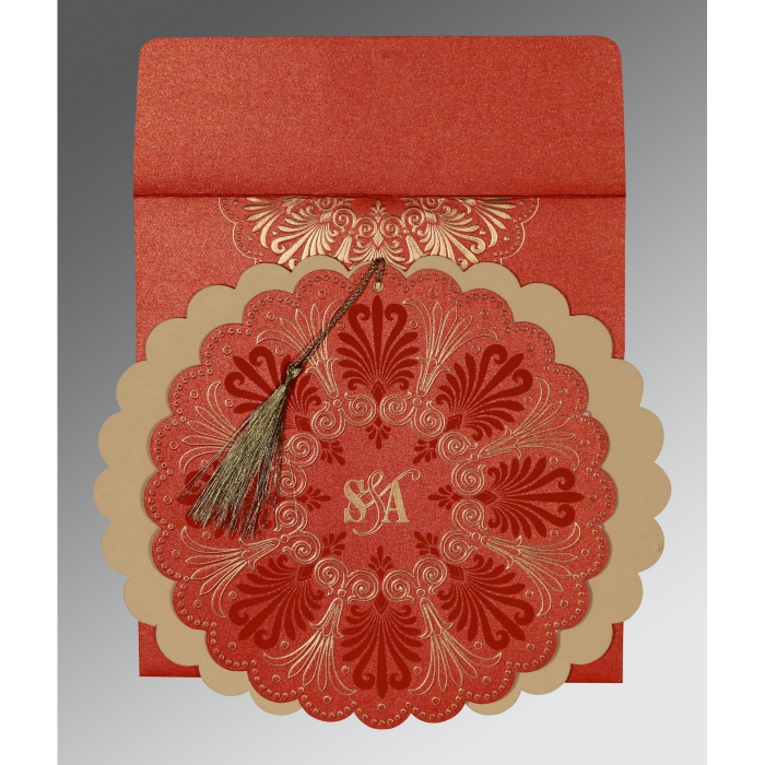 Red Shimmery Floral Themed - Embossed Wedding Card : CD-8238I - IndianWeddingCards