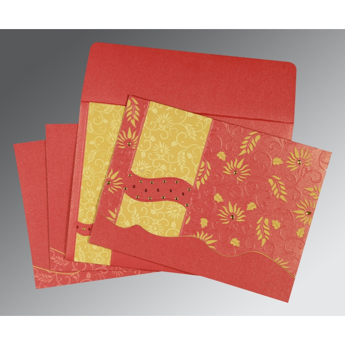 Red Shimmery Floral Themed - Embossed Wedding Invitation : CW-8236C - IndianWeddingCards