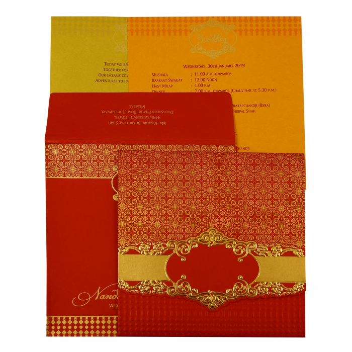 Red Shimmery Floral Themed - Foil Stamped Wedding Invitation : CW-1890 - IndianWeddingCards