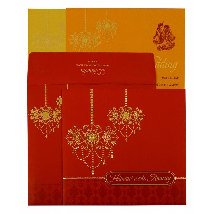 Red Shimmery Floral Themed - Screen Printed Wedding Invitation : CIN-1871 - IndianWeddingCards