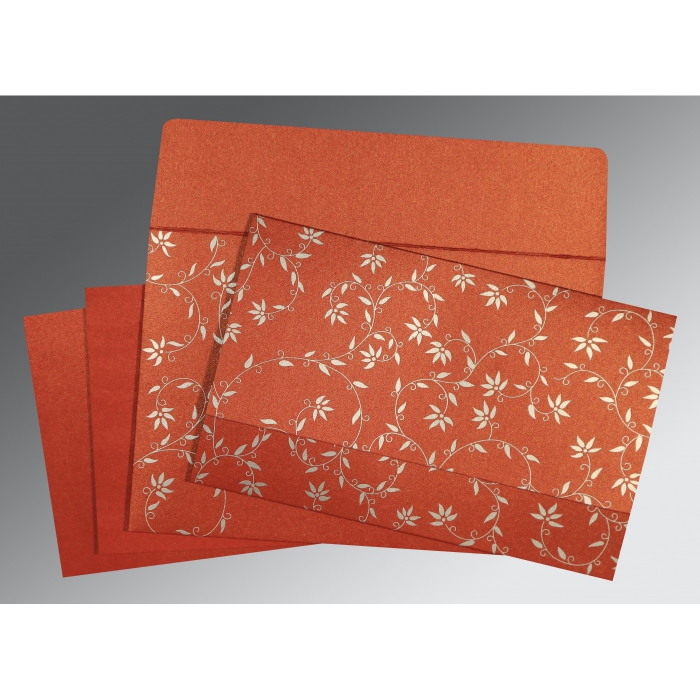 Red Shimmery Floral Themed - Screen Printed Wedding Invitation : CD-8226I - IndianWeddingCards