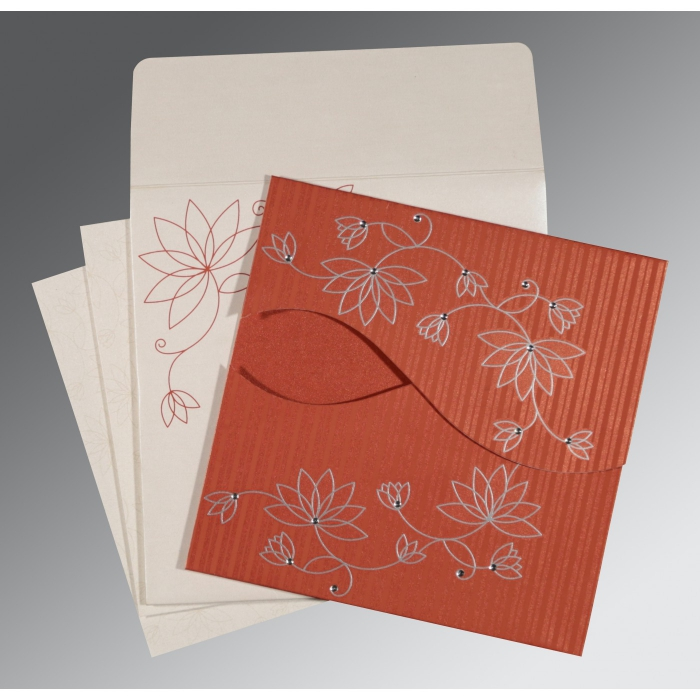 Red Shimmery Floral Themed - Screen Printed Wedding Invitation : CD-8251D - IndianWeddingCards