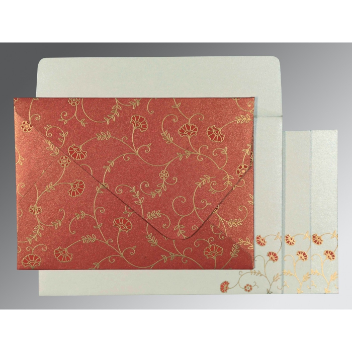 Red Shimmery Floral Themed - Screen Printed Wedding Invitation : CS-8248A - IndianWeddingCards