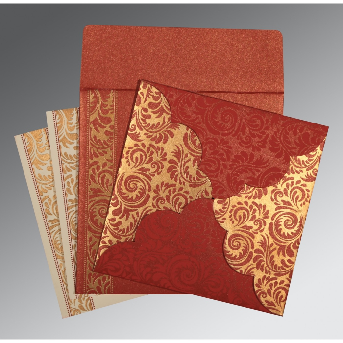 Maxicon Red Shimmery Floral Themed Screen Printed Wedding Card