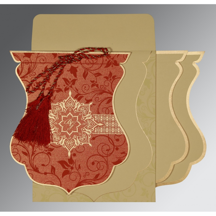 Red Shimmery Floral Themed - Screen Printed Wedding Card : CW-8229H - IndianWeddingCards