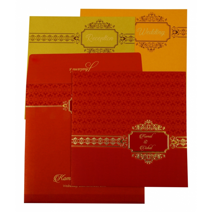 Red Shimmery Foil Stamped Wedding Invitation : CW-1902 - IndianWeddingCards