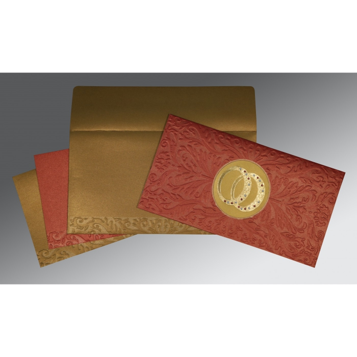 Red Shimmery Foil Stamped Wedding Card : CD-1465 - IndianWeddingCards