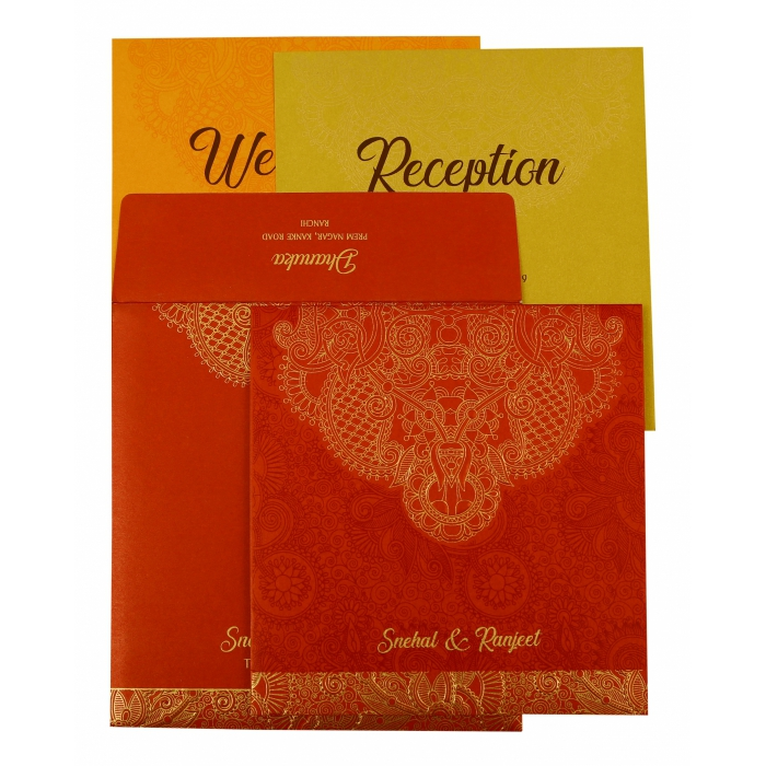 Red Shimmery Paisley Themed - Embossed Wedding Invitation : CD-1874 - IndianWeddingCards