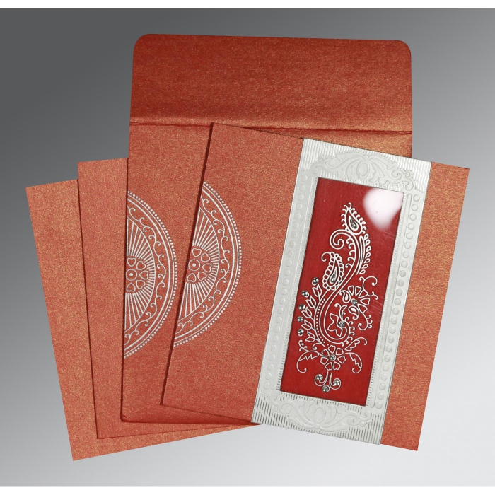 Red Shimmery Paisley Themed - Foil Stamped Wedding Invitation : CW-8230C - IndianWeddingCards