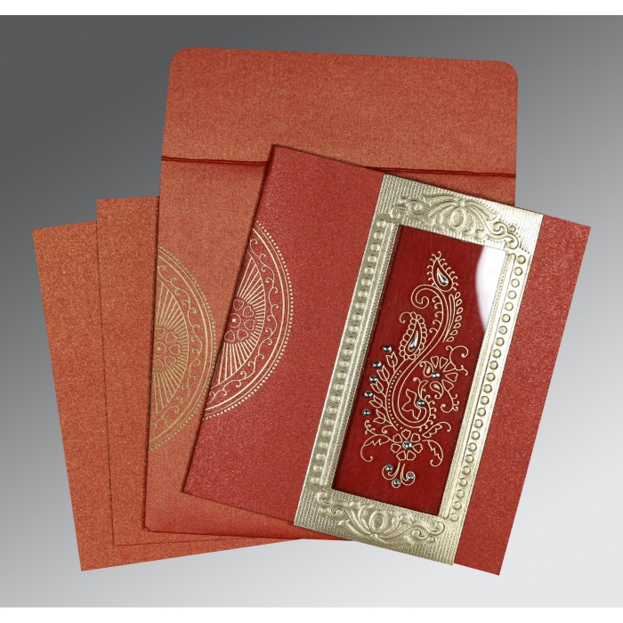 Red Shimmery Paisley Themed - Foil Stamped Wedding Invitation : CW-8230N - IndianWeddingCards