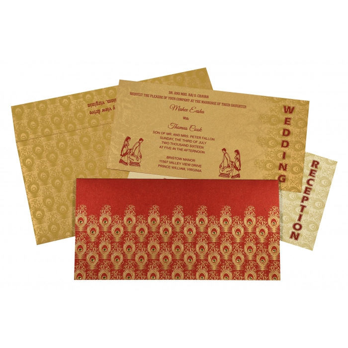 Red Shimmery Peacock Themed - Screen Printed Wedding Invitation : CD-8256C - IndianWeddingCards