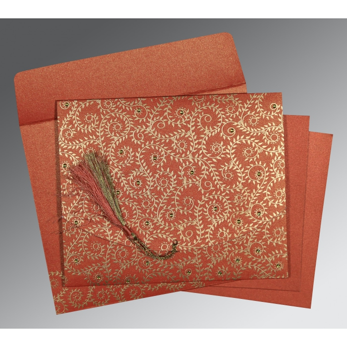 Red Shimmery Screen Printed Wedding Invitation : CD-8217A - IndianWeddingCards