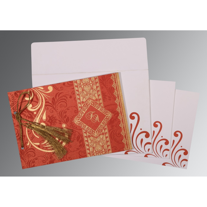 Red Shimmery Screen Printed Wedding Card : CD-8223F - IndianWeddingCards