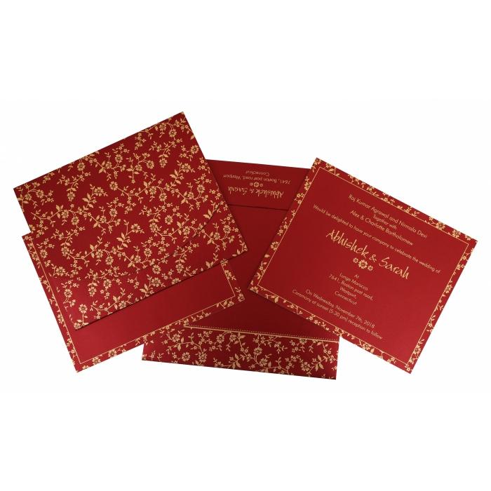 Red Shimmery Screen Printed Wedding Invitation : CW-804B - IndianWeddingCards