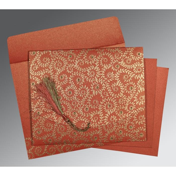 Red Shimmery Screen Printed Wedding Invitation : CW-8217A - IndianWeddingCards
