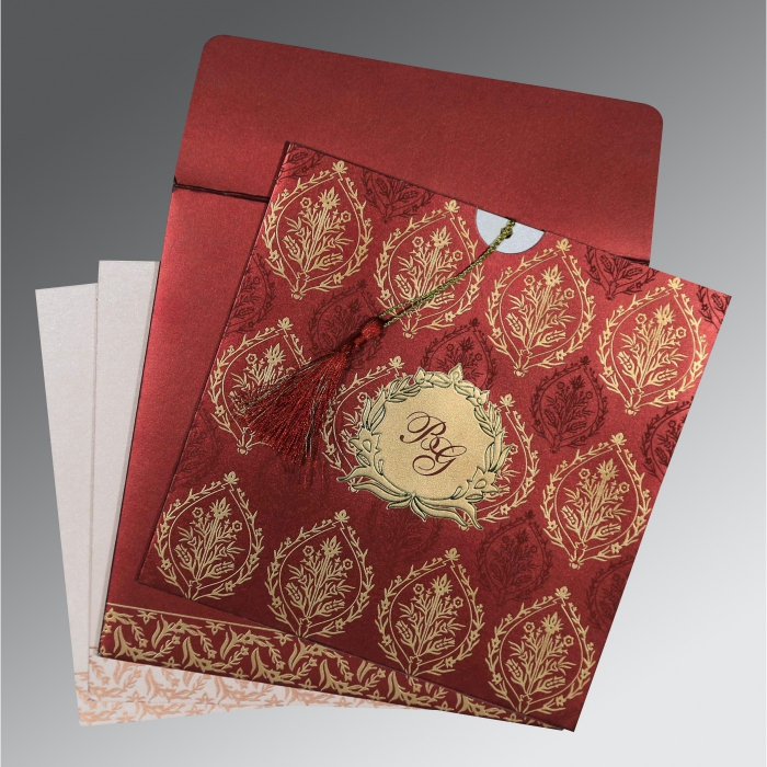 Red Shimmery Unique Themed - Foil Stamped Wedding Card : CD-8249L - IndianWeddingCards