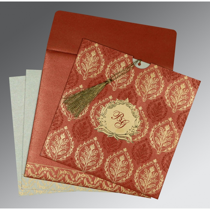 Red Shimmery Unique Themed - Foil Stamped Wedding Card : CW-8249A - IndianWeddingCards