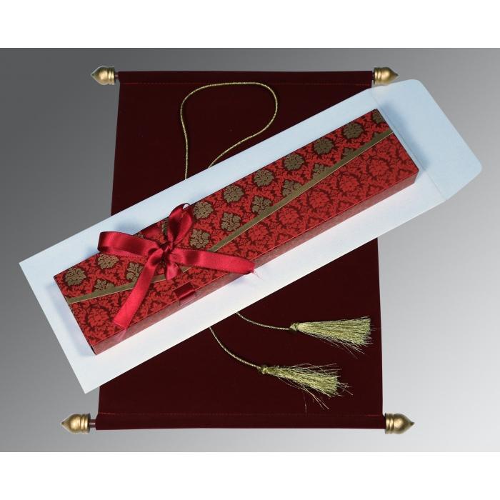 Red Velvet Wedding Invitation : CSC-5016F - IndianWeddingCards