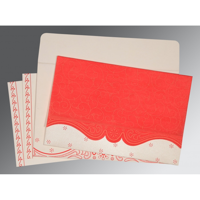 Red Wooly Embossed Wedding Invitation : CD-8221J - IndianWeddingCards
