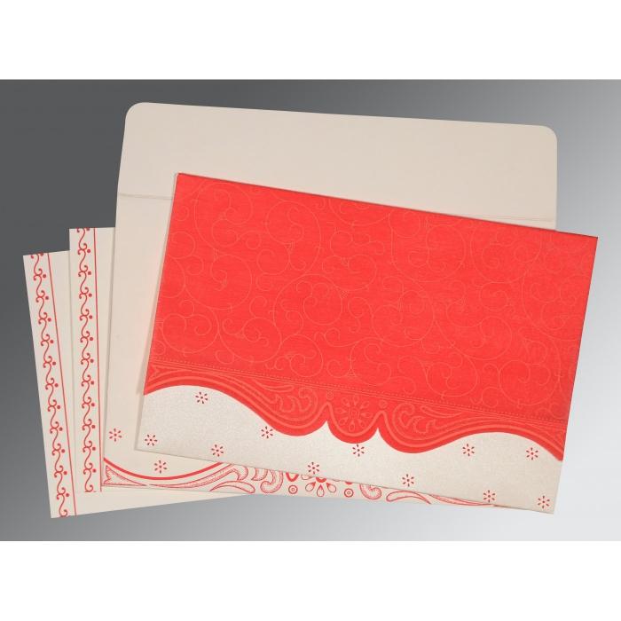 Red Wooly Embossed Wedding Invitation : CI-8221J - IndianWeddingCards