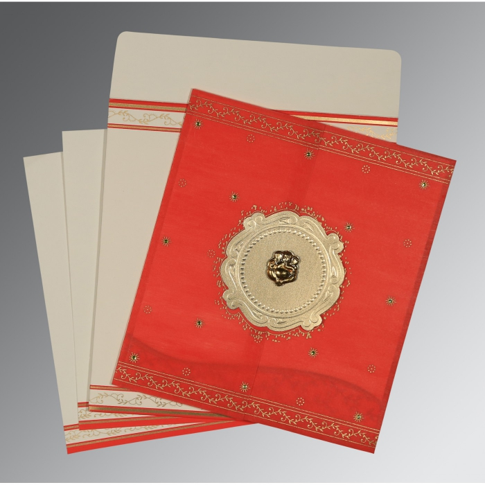 Red Wooly Embossed Wedding Invitation : CW-8202H - IndianWeddingCards
