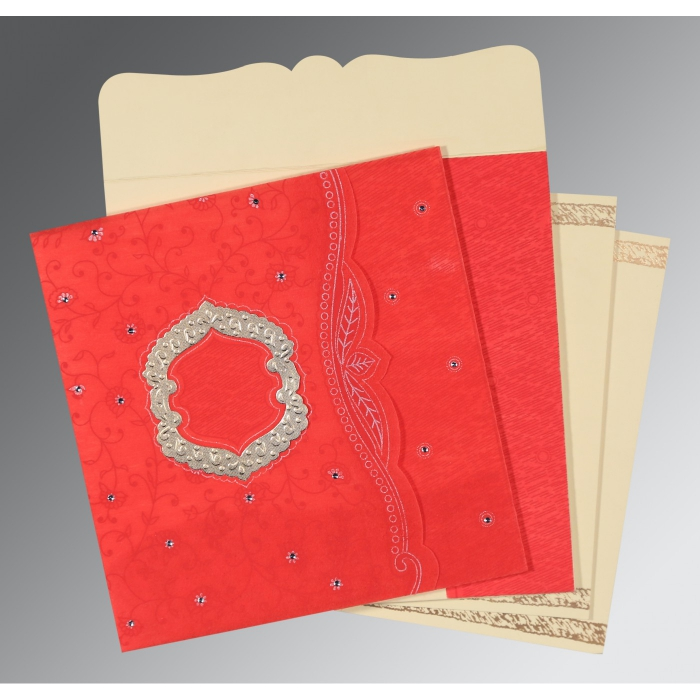 Red Wooly Floral Themed - Embossed Wedding Card : CD-8209I - IndianWeddingCards