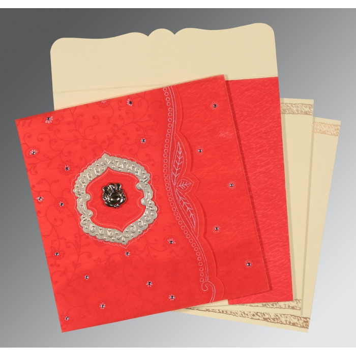 Red Wooly Floral Themed - Embossed Wedding Card : CW-8209I - IndianWeddingCards