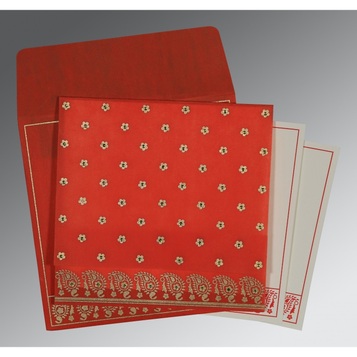 Red Wooly Floral Themed - Screen Printed Wedding Card : CI-8218M - IndianWeddingCards
