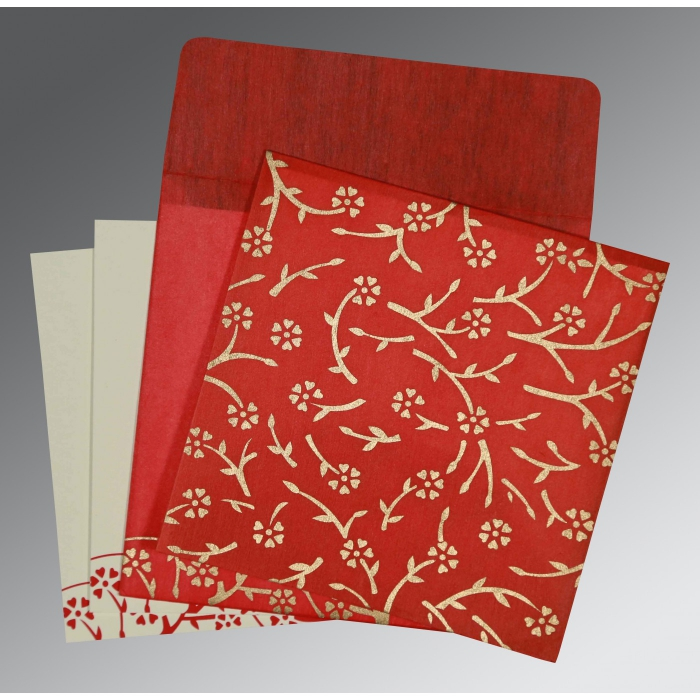 Red Wooly Floral Themed - Screen Printed Wedding Invitation : CW-8216L - IndianWeddingCards