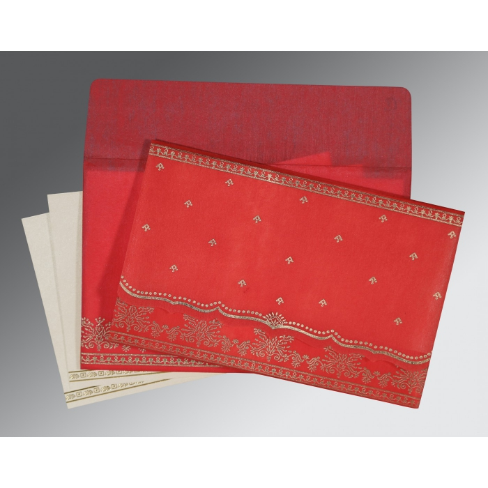 Red Wooly Foil Stamped Wedding Invitation : CW-8241Q - IndianWeddingCards