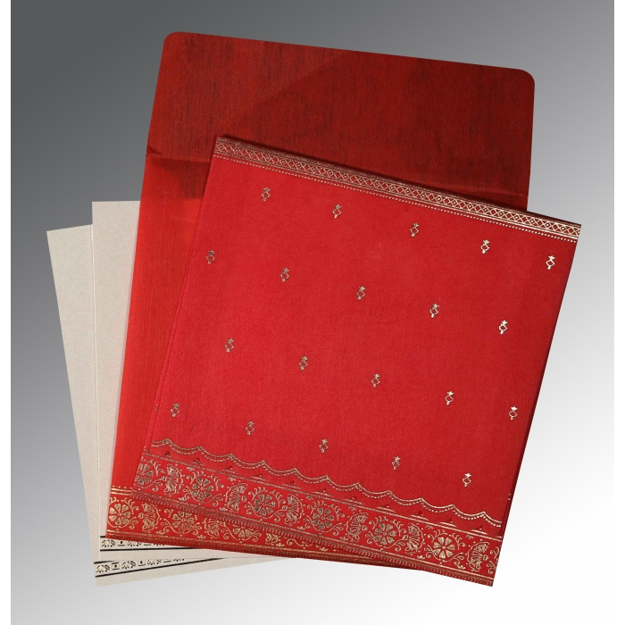Red Wooly Foil Stamped Wedding Card : CW-8242A - IndianWeddingCards