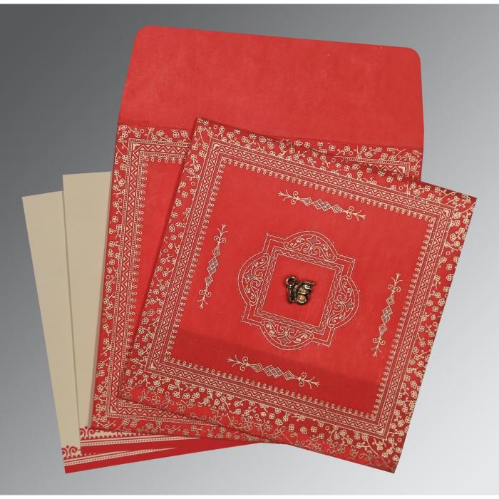 Red Wooly Glitter Wedding Card : CS-8205R - IndianWeddingCards