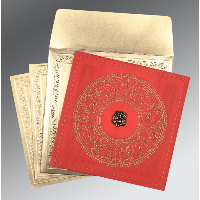 Red Wooly Screen Printed Wedding Card : CW-8214G - IndianWeddingCards