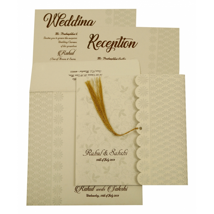 Shell Grey Shimmery Floral Themed - Embossed Wedding Invitation : CW-1887 - IndianWeddingCards