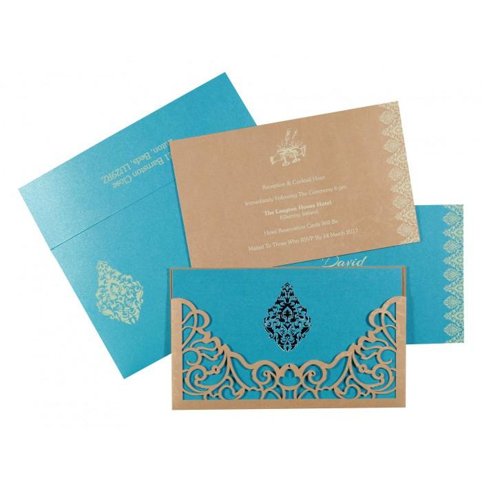 Shimmery Damask Themed - Laser Cut Wedding Card : CS-8262C - IndianWeddingCards