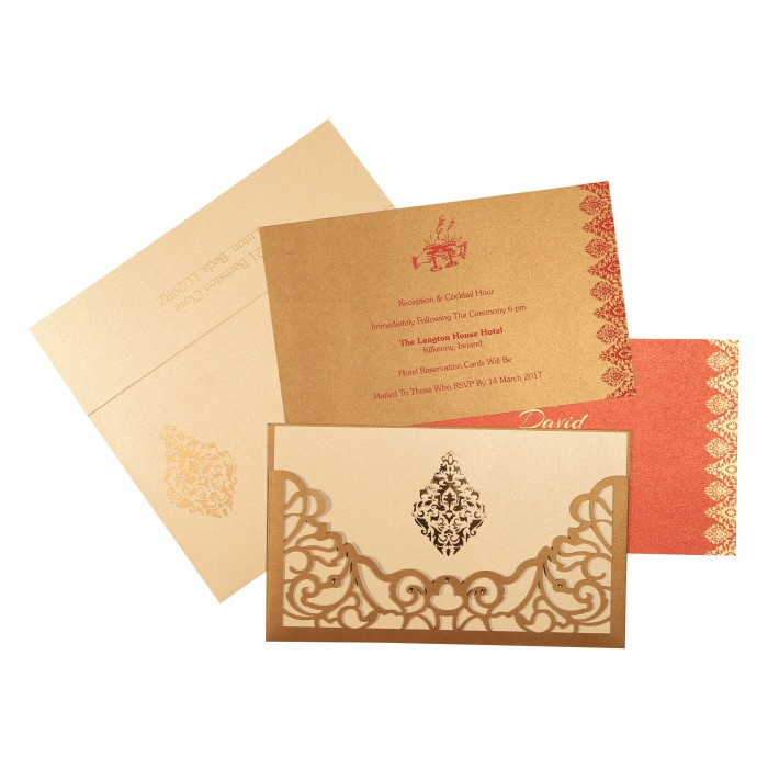 Shimmery Damask Themed - Laser Cut Wedding Card : CW-8262D - IndianWeddingCards
