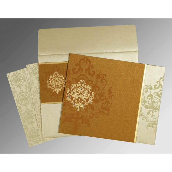 Shimmery Damask Themed - Screen Printed Wedding Card : CD-8253G - IndianWeddingCards