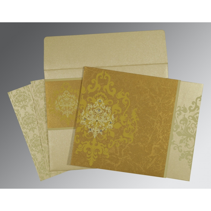 Shimmery Damask Themed - Screen Printed Wedding Card : CD-8253H - IndianWeddingCards
