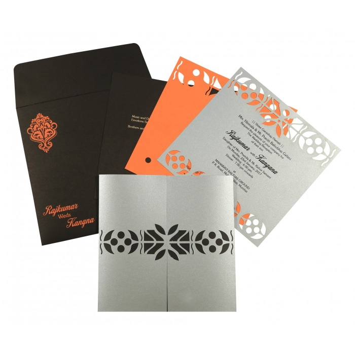 Shimmery Embossed Wedding Invitation : CS-8260E - IndianWeddingCards