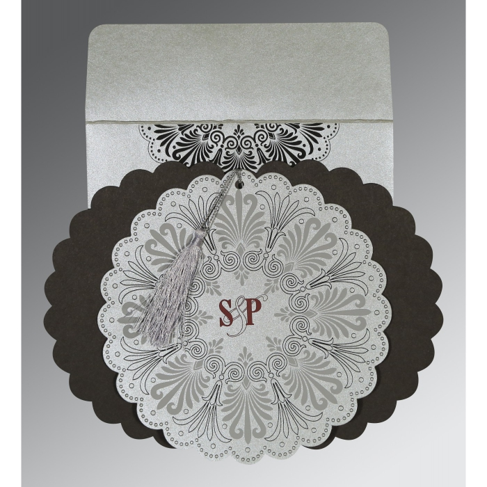 Shimmery Floral Themed - Embossed Wedding Card : CD-8238A - IndianWeddingCards