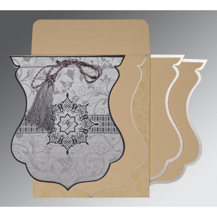 Shimmery Floral Themed - Screen Printed Wedding Card : CD-8229B - IndianWeddingCards