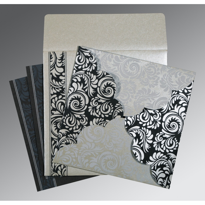 Shimmery Floral Themed - Screen Printed Wedding Card : CD-8235B - IndianWeddingCards