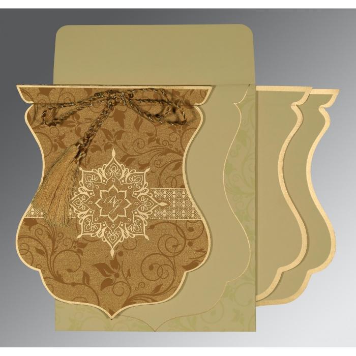Shimmery Floral Themed - Screen Printed Wedding Card : CIN-8229O - IndianWeddingCards