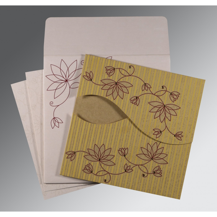 Shimmery Floral Themed - Screen Printed Wedding Invitation : CS-8251E - IndianWeddingCards