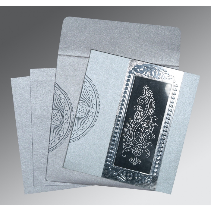 Shimmery Paisley Themed - Foil Stamped Wedding Invitation : CD-8230F - IndianWeddingCards