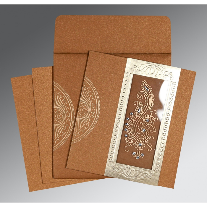 Shimmery Paisley Themed - Foil Stamped Wedding Invitation : CS-8230Q - IndianWeddingCards